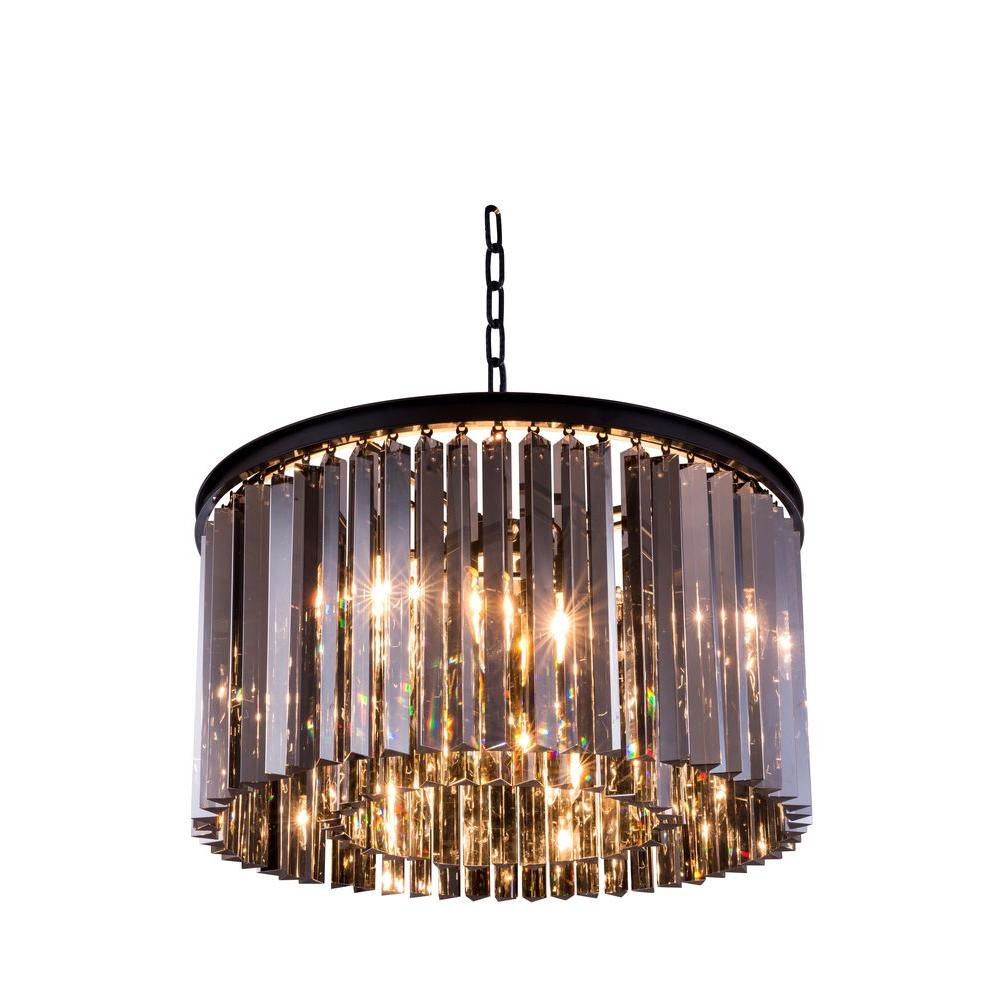 Elegant lighting sydney 8 light mocha brown chandelier with silver elegant lighting sydney 8 light mocha brown chandelier with silver shade grey crystal aloadofball Image collections