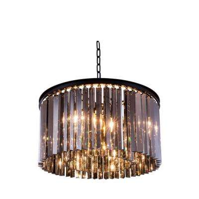 Sydney 8-Light Mocha Brown Chandelier with Silver Shade Grey Crystal