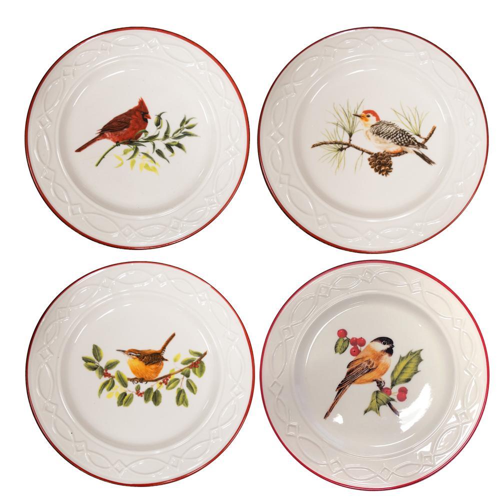 Winter Birds Multicolor Dessert Plate (Set of 4)