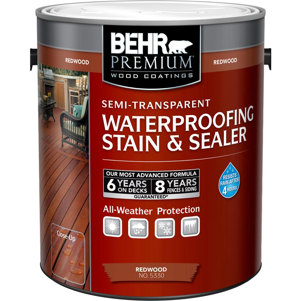 Behr Premium 1 Gal St 330 Redwood Semi Transpa Waterproofing Exterior Wood