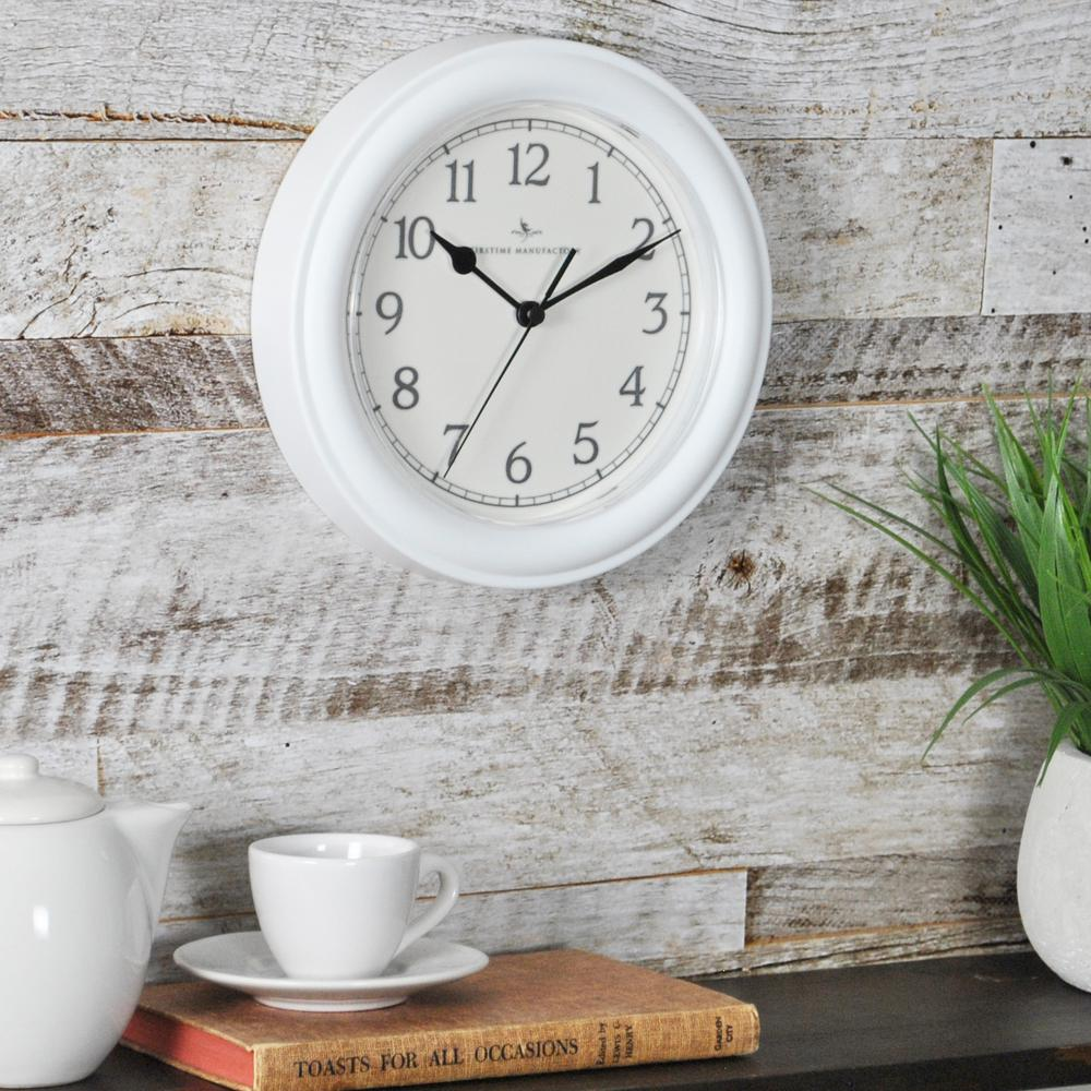FirsTime 8.5 in. White Round Essential Wall Clock
