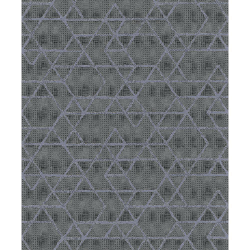 8 in. x 10 in. Montego Dark Grey Geometric Wallpaper Sample