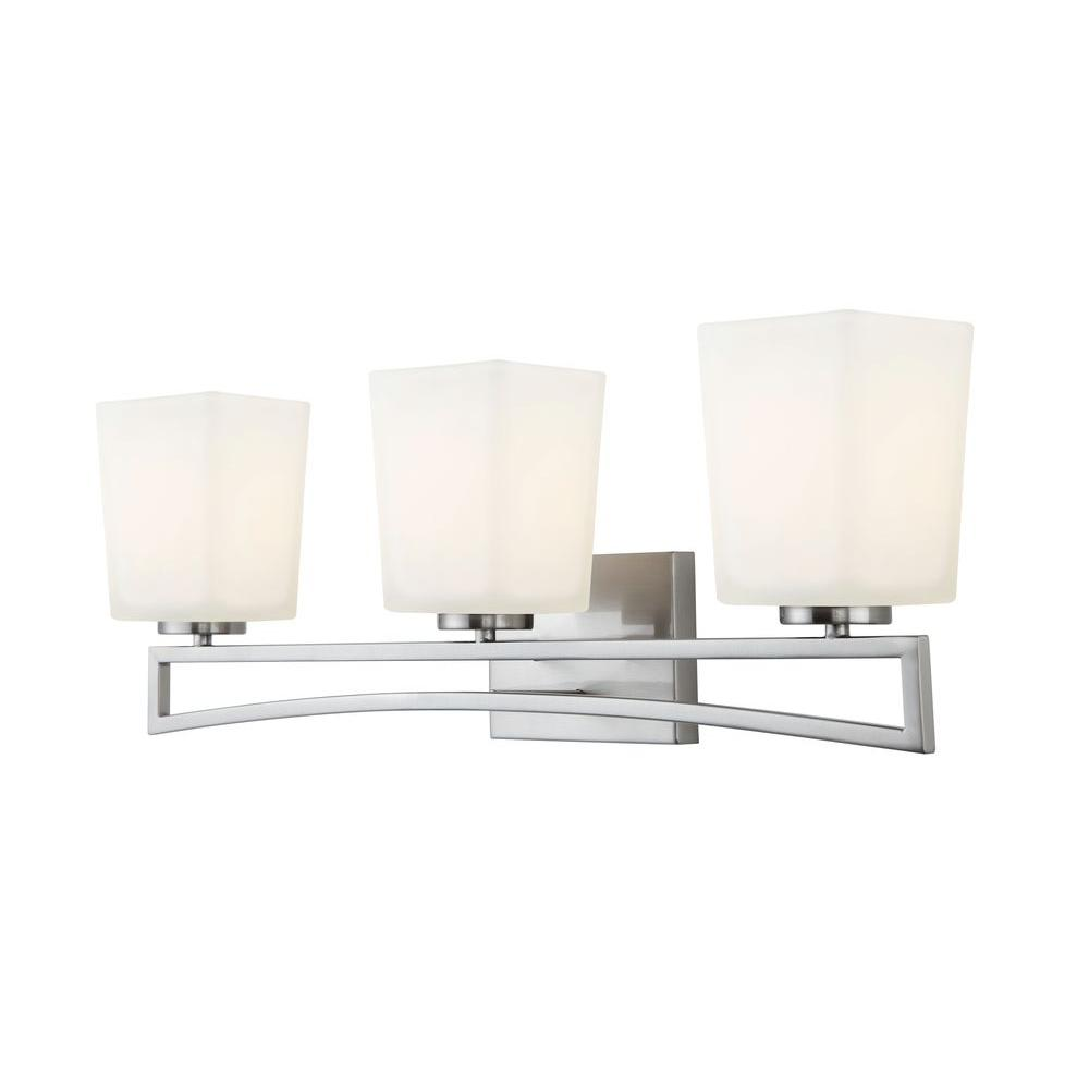 Canarm alexa 3 light brushed nickel vanity light with flat for Best lighting for bathroom vanity area