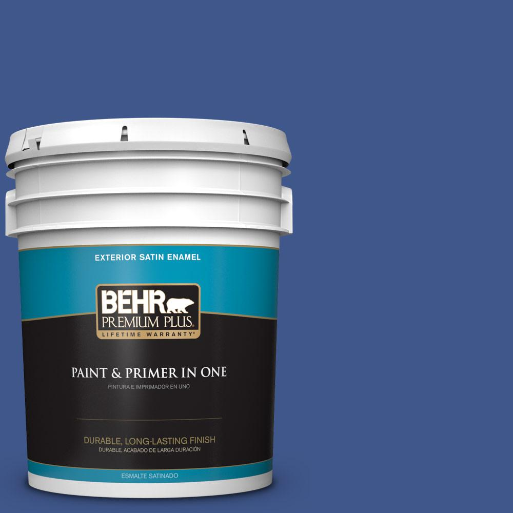 5 gal. #PPU15-03 Dark Cobalt Blue Satin Enamel Exterior Paint