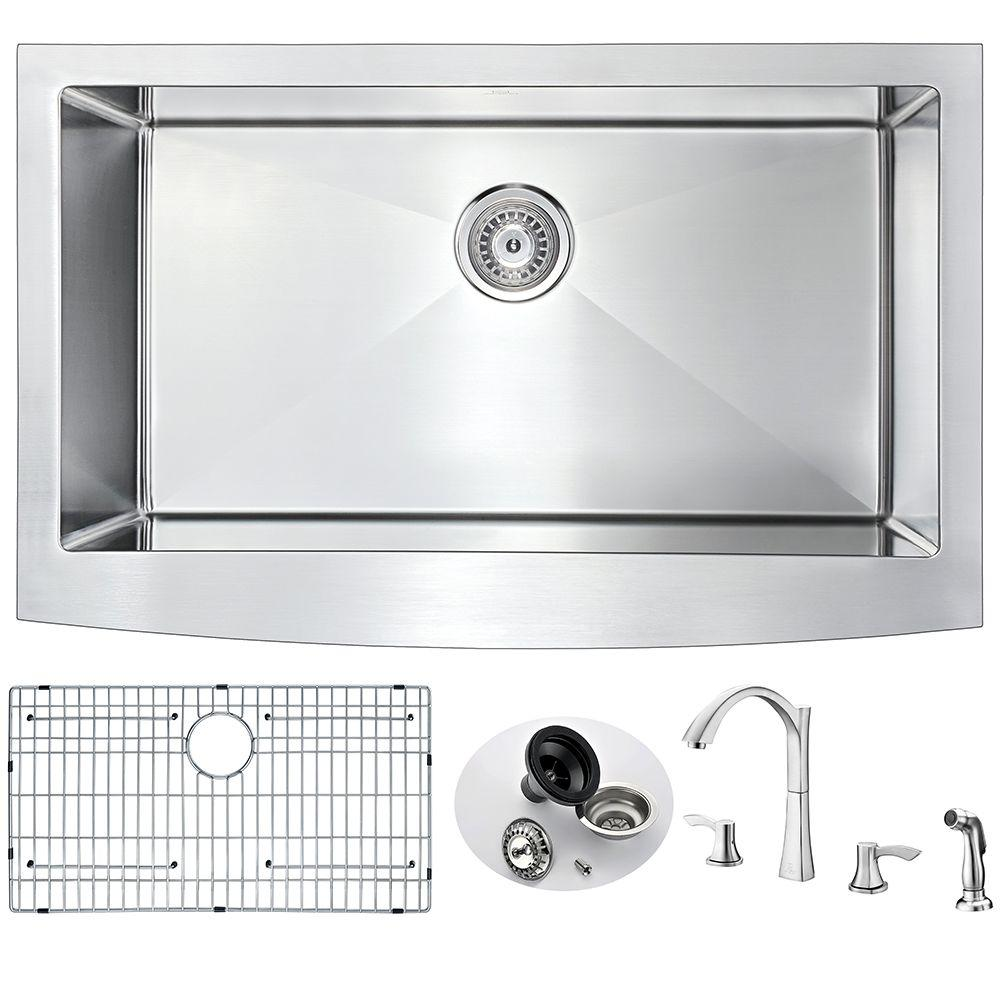 ELYSIAN Farmhouse Stainless Steel 32 in. 0-Hole Single Bowl Kitchen Sink