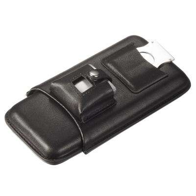 Renly Black Leather Cigar Case with Lighter and Cutter