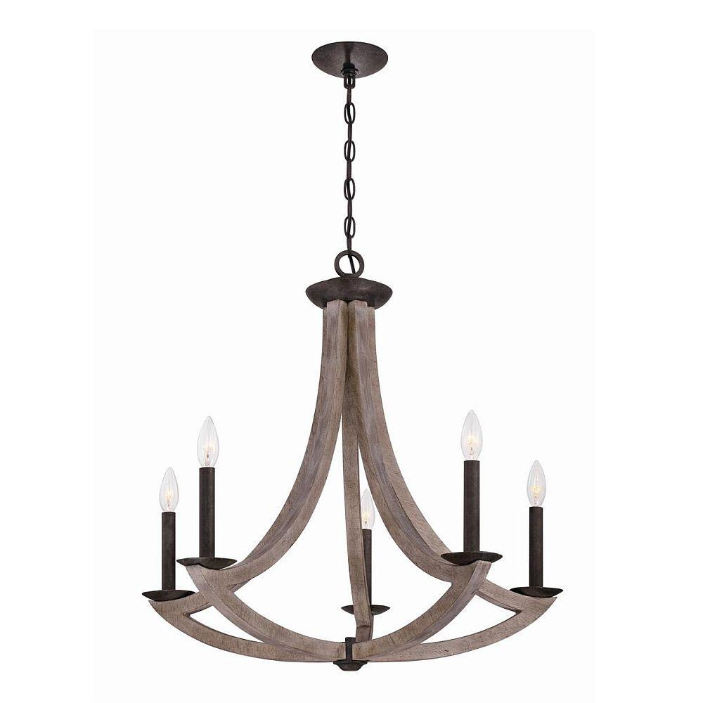 null Arcata Collection 5-Light Wood Chandelier