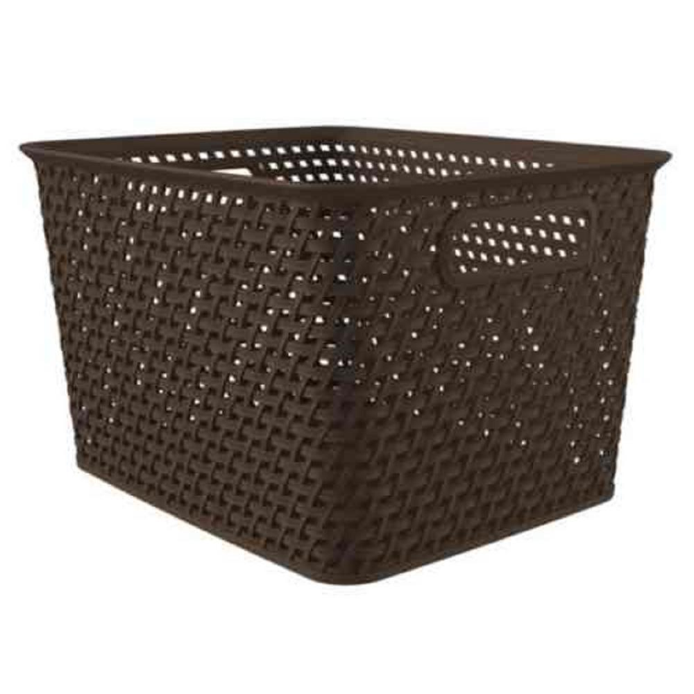 Weave 14 in. x 8.7 in. Espresso Storage Tote Basket (Pack