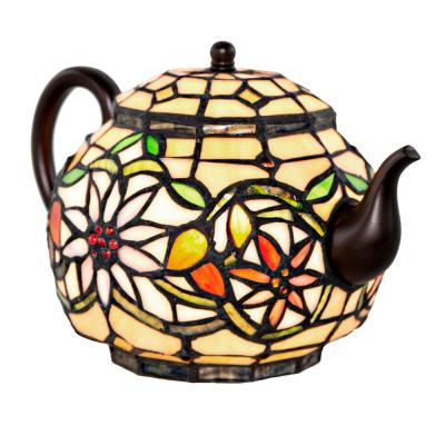 6.5 in. Multi-Colored Stained Glass Indoor Novelty Teapot Lamp