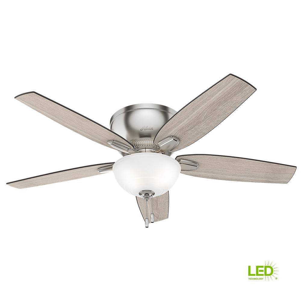 Hunter Oberlin 52 in. LED Indoor Brushed Nickel Ceiling Fan-53046 ...