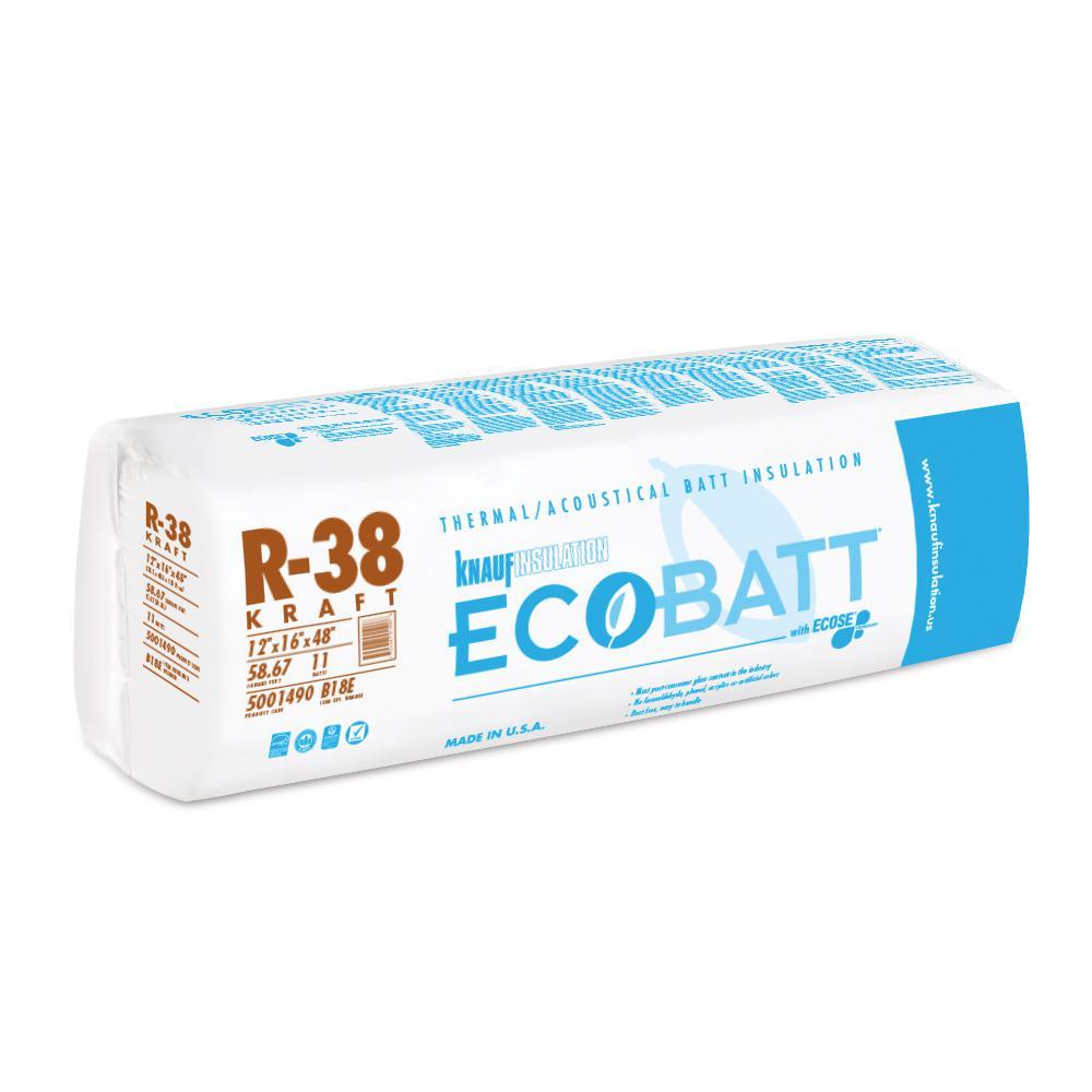 R-38 EcoBatt Kraft Faced Fiberglass Insulation Batt 12 in. x 16 in. x 48 in.