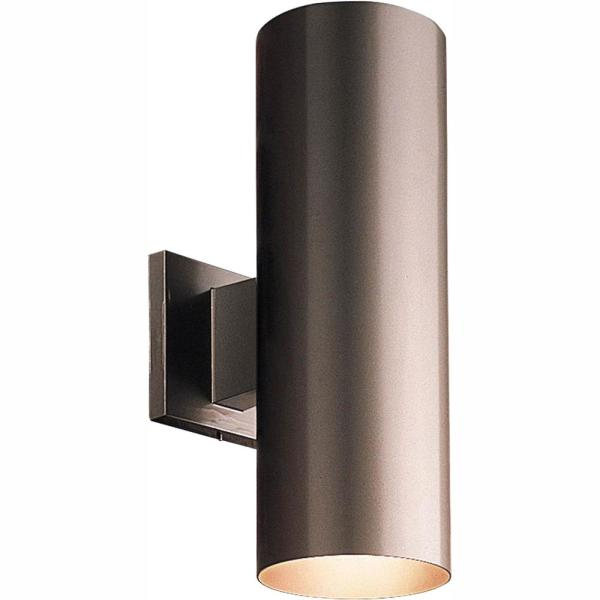 2-Light Antique Bronze Integrated LED 14 in. Outdoor Wall Mount Cylinder Light