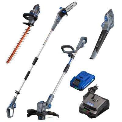 20-Volt Cordless String Trimmer, Hedge Trimmer, Pole Saw and Leaf Blower (4-Tool) 2 Ah Battery and Charger Included