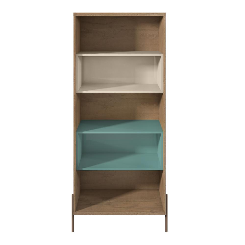 Internet 305387935 Manhattan Comfort Joy Blue And Off White 5 Shelf Bookcase