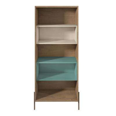 Joy Blue and Off White 5-Shelf Bookcase