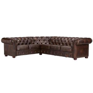 Radcliffe 3 Piece Chocolate Bonded Leather Sectional