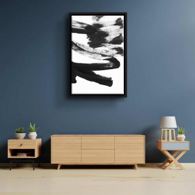 'Black & white strokes 5' by  Iris Lehnhardt Framed Canvas Wall Art