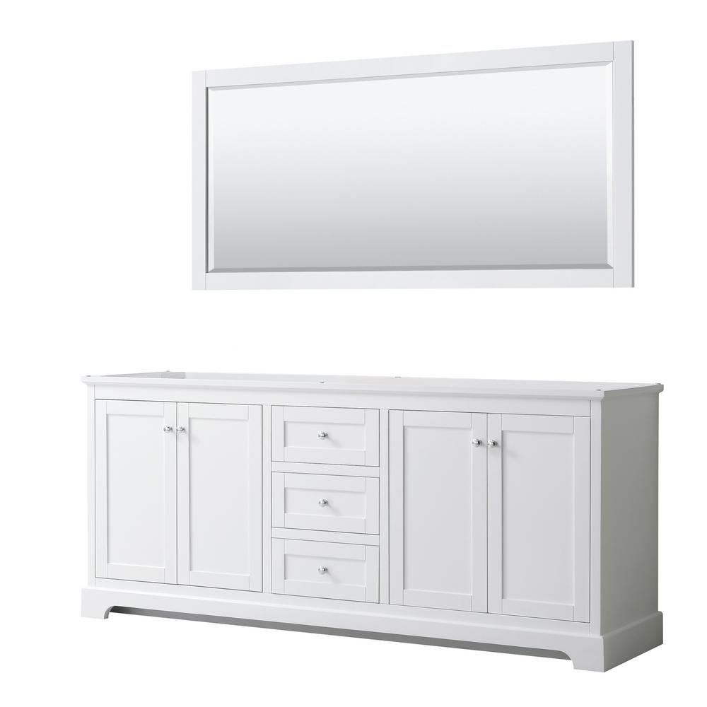 Wyndham Collection Avery 79 in. W x 21.75 in. D Bathroom Vanity Cabinet Only with Mirror in White