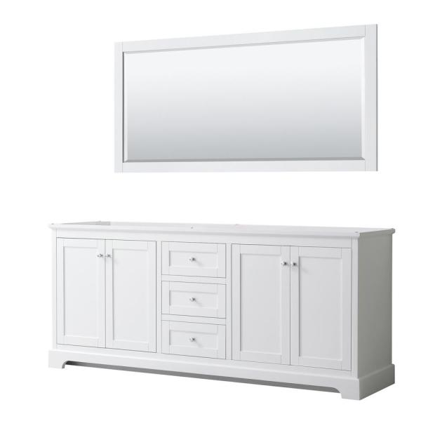 Avery 79 in. W x 21.75 in. D Bathroom Vanity Cabinet Only with Mirror in White