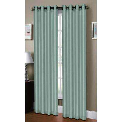 Semi-Opaque Raphael Heathered Faux-Linen Extra-Wide 96 in. L Grommet Curtain Panel Pair, Seafoam (Set of 2)