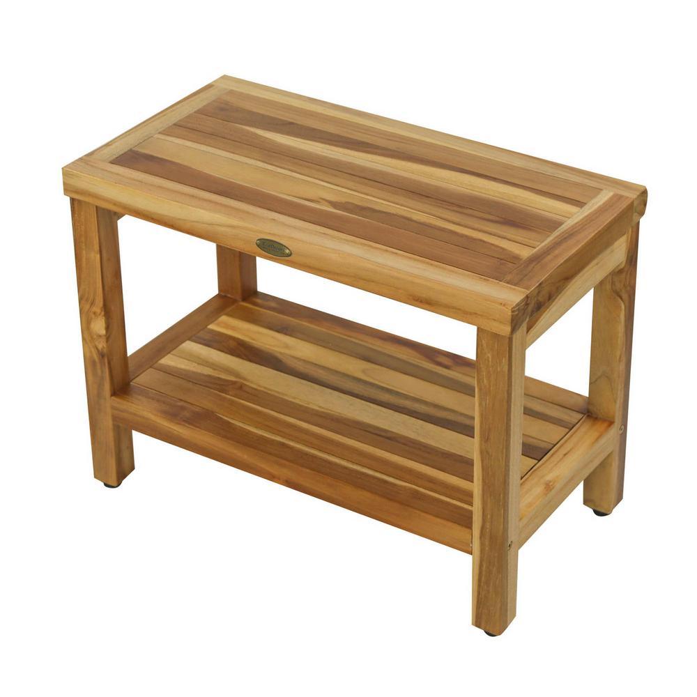 EarthyTeak Classic 24 in. Teak Shower Bench with Shelf