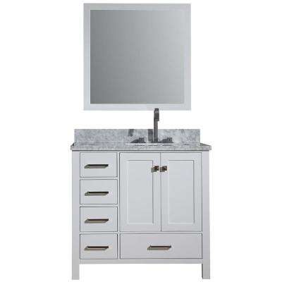 Cambridge 37 in. Vanity in with Carrara Marble Vanity Top in White with White Basin and Mirror