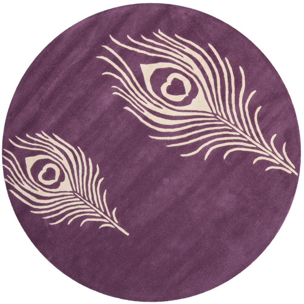 Purple Viscose Rug: Safavieh Soho Purple/Ivory 4 Ft. X 4 Ft. Round Area Rug