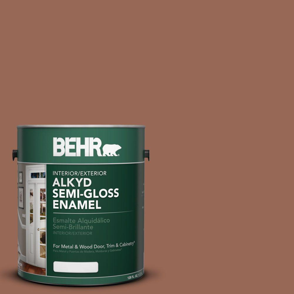 BEHR 1-gal. #AE-11 Rusty Wire Semi-Gloss Enamel Alkyd Interior/Exterior Paint