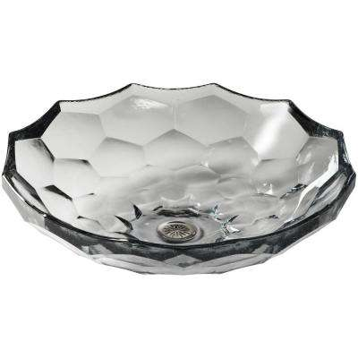 Briolette Glass Vessel Sink in Ice