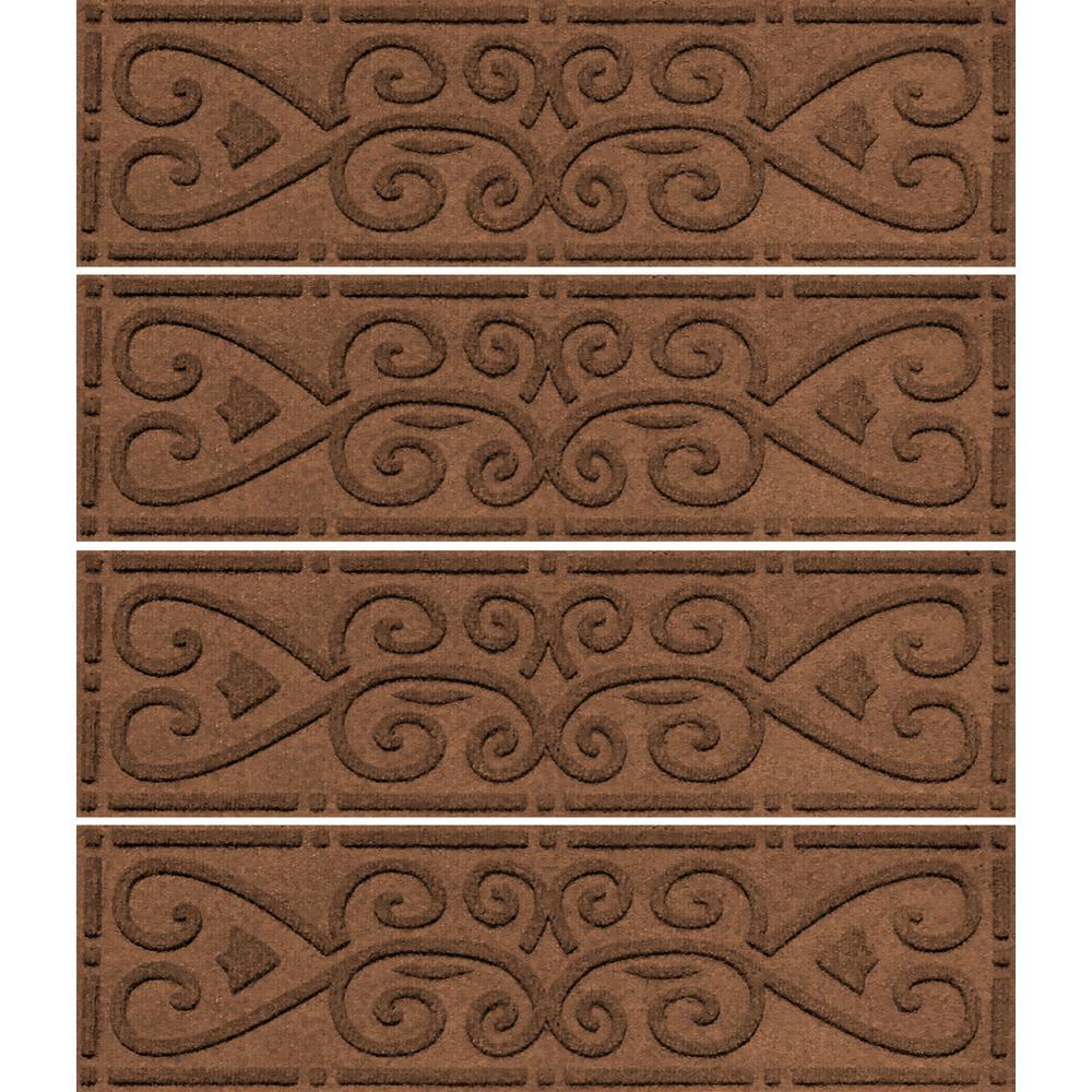 Dark Brown 8.5 in. x 30 in. Scroll Stair Tread Cover (Set of 4)
