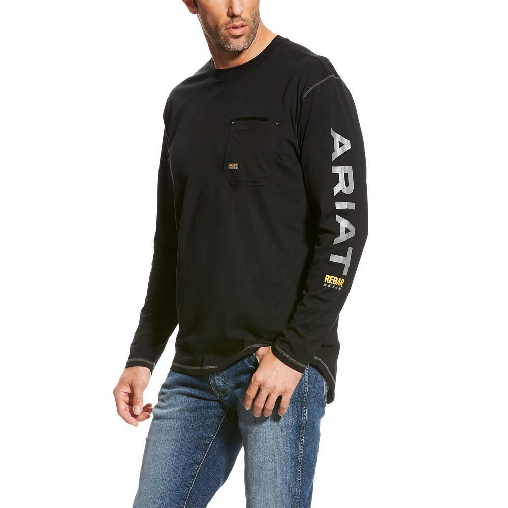 Men's Size Large Black Rebar Logo Long Sleeve Work T-Shirt