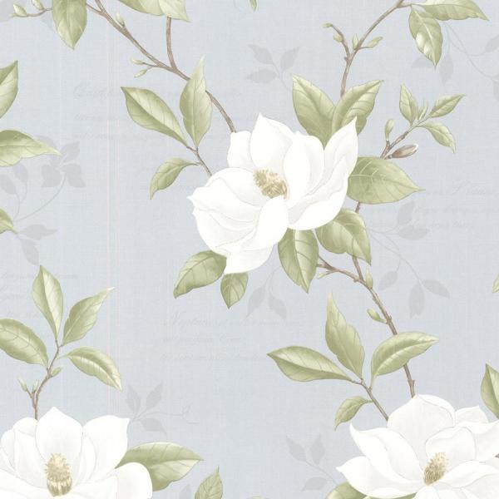 Brewster 56.4 sq. ft. Cressida Blue Magnolia Trail Wallpaper 2532-20435