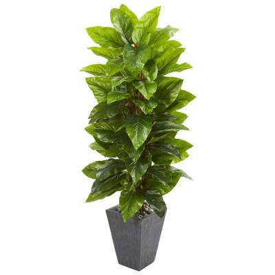 Indoor 5-Ft. Large Leaf Philodendron Artificial Plant in Slate Planter