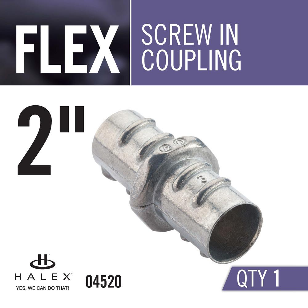 Halex 04520 Screw in Couplings Flexible Metallic Conduit Fitting Zinc Die Cast 2 4 Piece