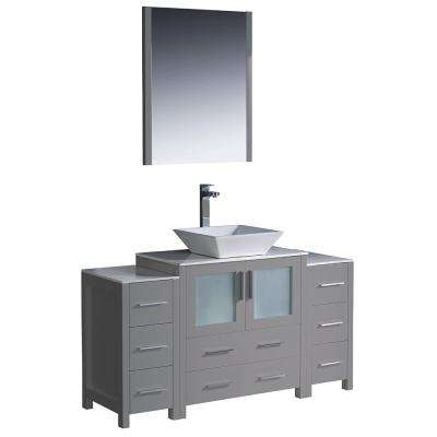 Torino 54 in. Bath Vanity in Gray with Glass Stone Vanity Top in White with White Vessel Sink, Side Cabinets and Mirror