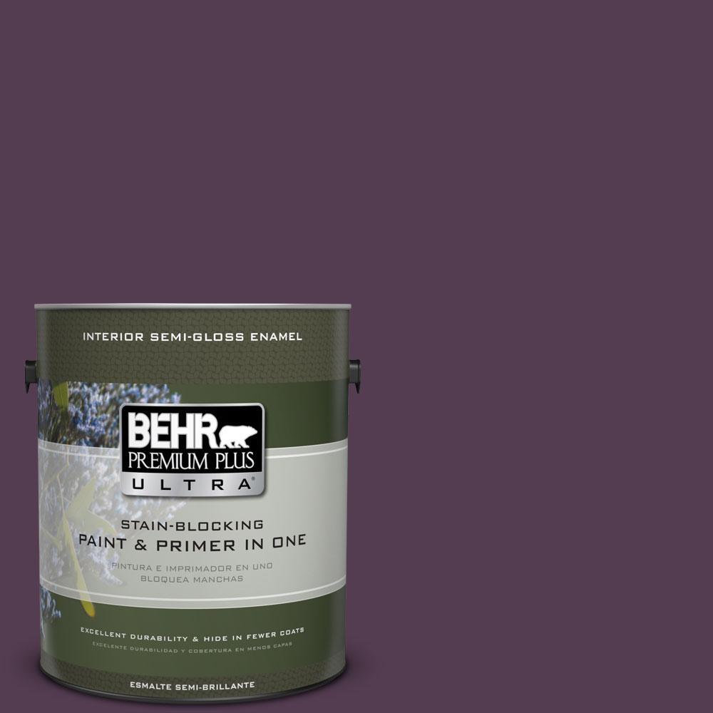 BEHR Premium Plus Ultra 1-gal. #PPU17-2 Oriental Eggplant Semi-Gloss Enamel Interior Paint