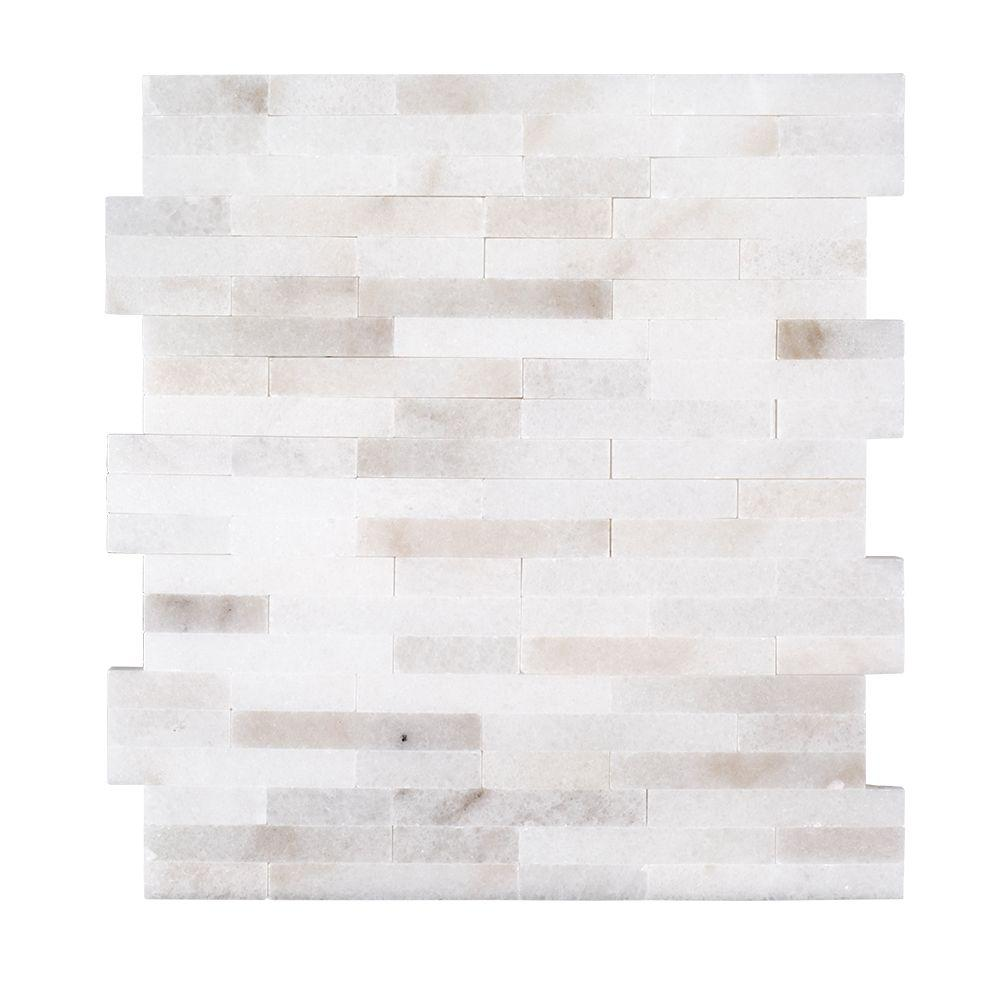Cotton Valley 11.75 in. x 12.5 in. x 10 mm Splitface Glossy Stone Mosaic Tile