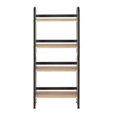 20 in. W x 12 in. D x 44.25 in. H MDF Free Standing 4-Tier Stackable Shelf in Black Graphite and Ashwood Laminate Finish