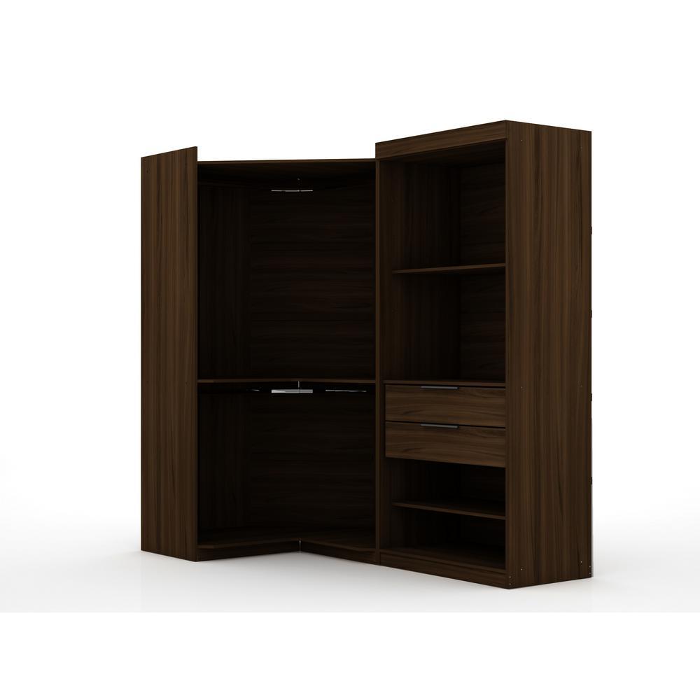 Luxor Ramsey Brown Open 2-Sectional Corner Closet (Set of 2) 110HD2