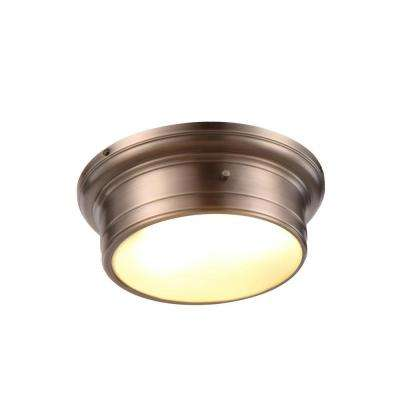 Sansa 2-Light Vintage Nickel Flushmount