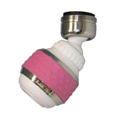 1.5 GPM Soft Grip Water-Saving Swivel Spray Aerator in White and Pink
