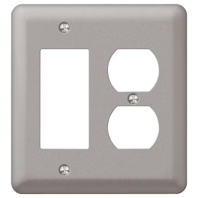 Declan 2 Gang 1-Duplex and 1-Rocker Steel Wall Plate - Pewter