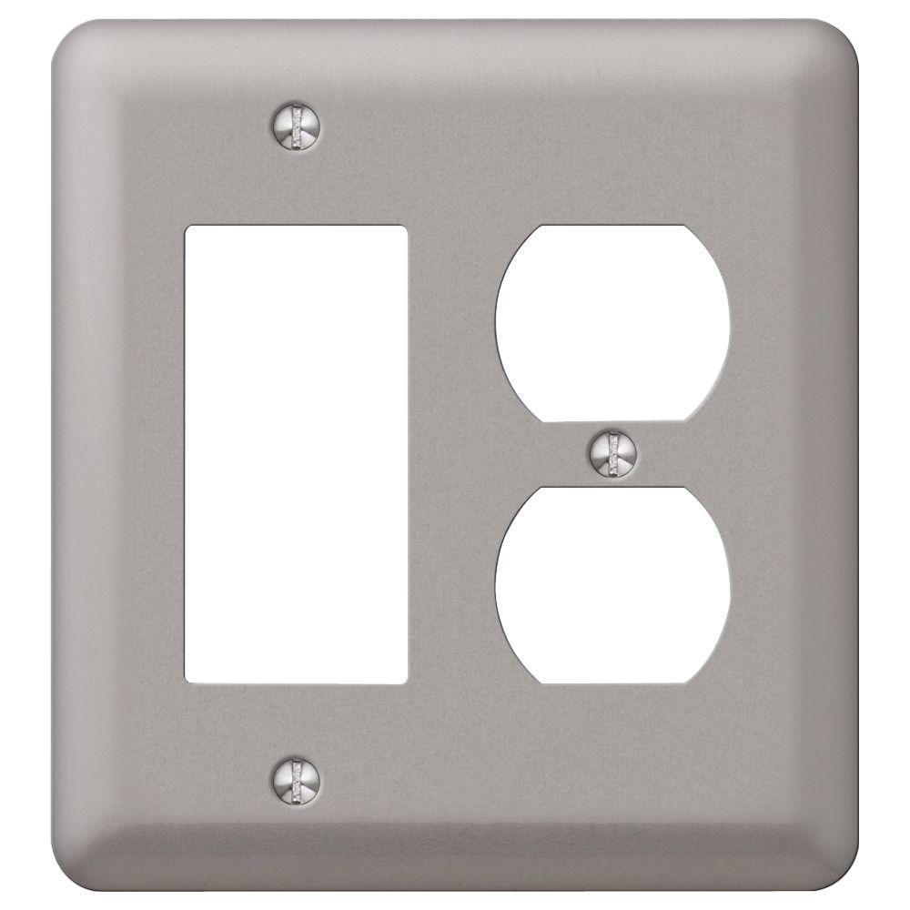 Devon 1 Decorator 1 Duplex Wall Plate - Pewter