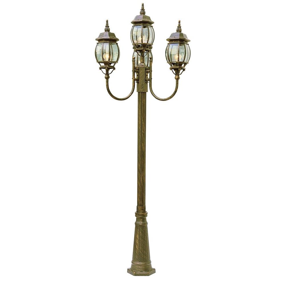 Bel Air Lighting Cabernet Collection 4 Light 96 in. Outdoor Black Gold Pole Lantern with Clear Beveled Shade