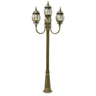 Cabernet Collection 4 Light 96 in. Outdoor Rust Pole Lantern with Clear Beveled Shade