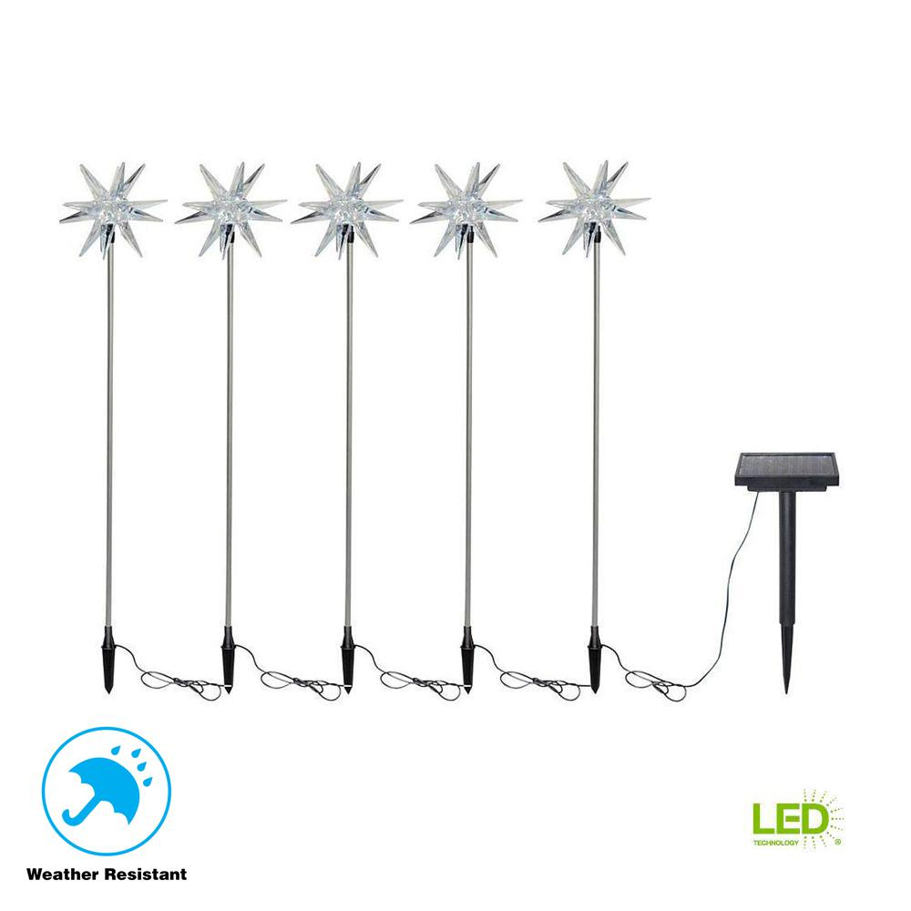 Solar-Powered LED Starburst Nickel Stake Lights (5-Pack)