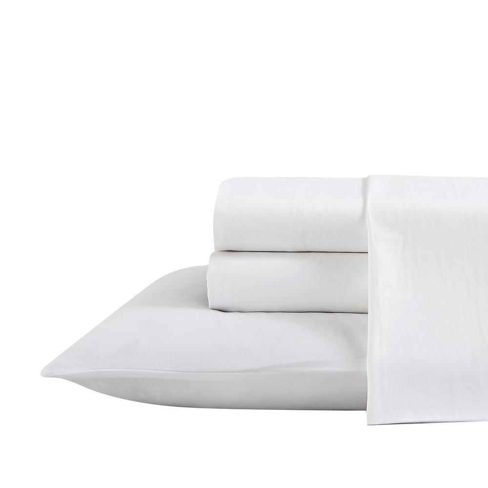 Oceane 4-Piece Solid White T300 Cotton King Sheet Set