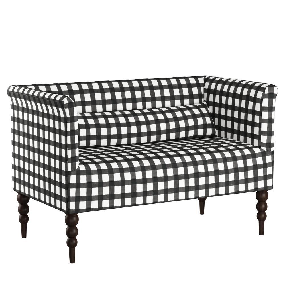 Skyline Furniture Buffalo Gingham Black Settee 4306bfflgngblog The