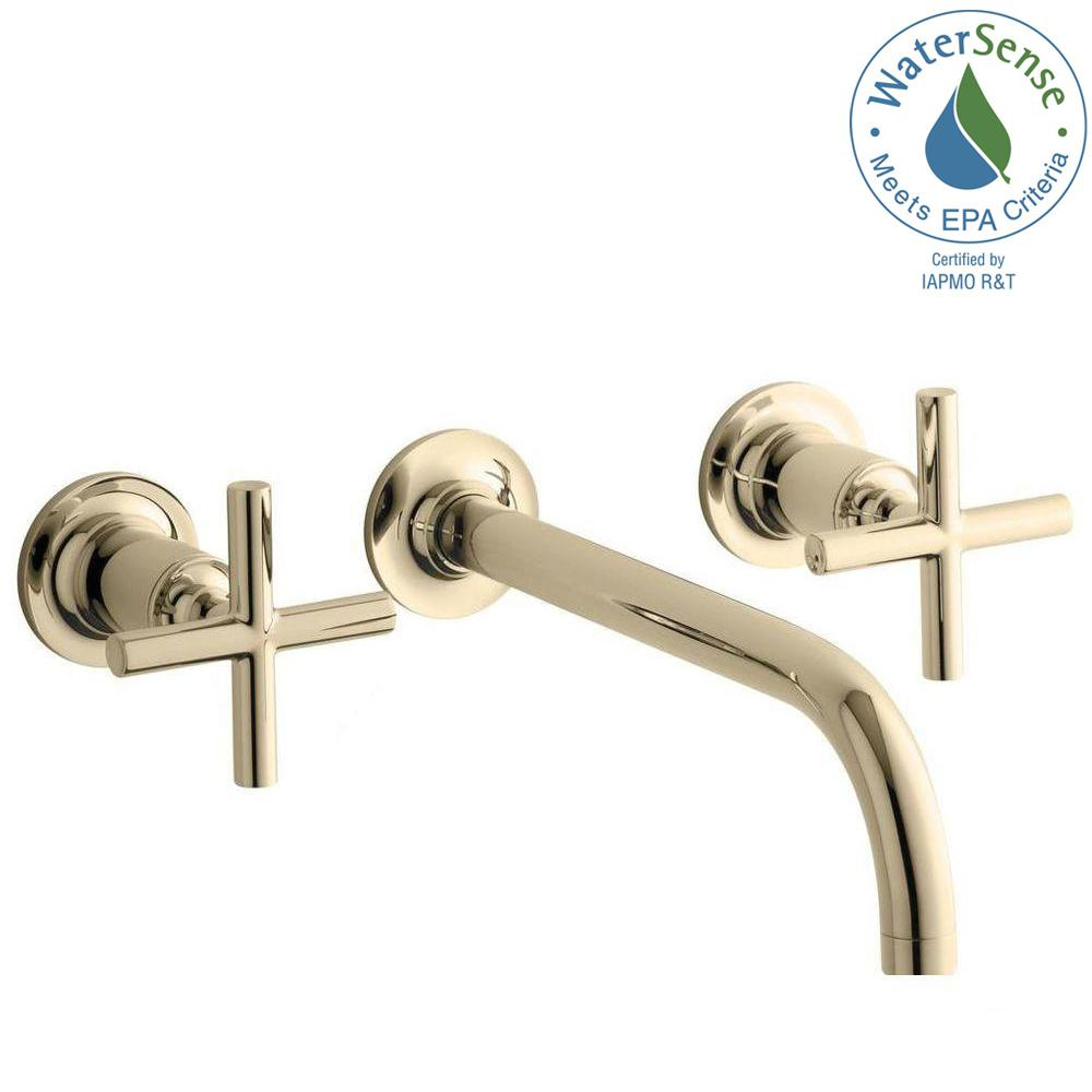 KOHLER Purist Wall-Mount 2-Handle Water-Saving Bathroom Faucet Trim Kit in Vibrant French Gold