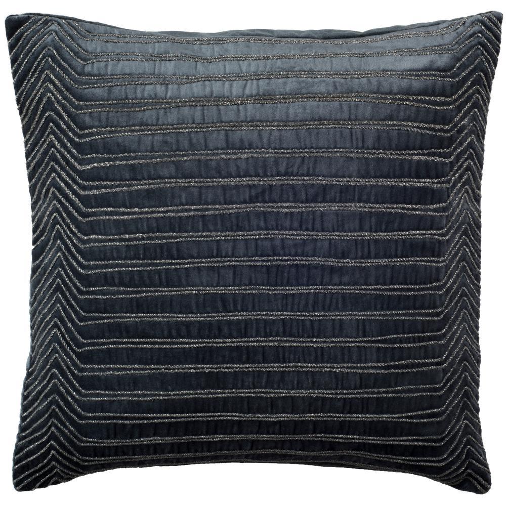 Pristine Dark Blue Striped Down Alternative 18 in. x 18 in. Throw Pillow